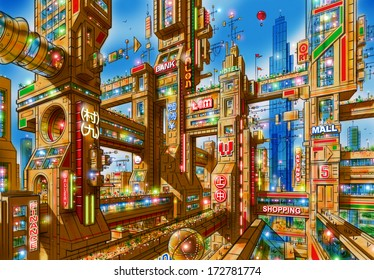 Illustration of a futuristic city of skyscrapers interconnected with each other at various levels by bridges and passageways with a blue sky background.