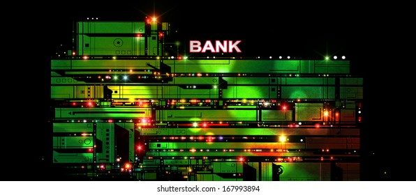 Illustration of a futuristic multi-storey bank lit up with colored lights and with a black, night sky as backdrop.