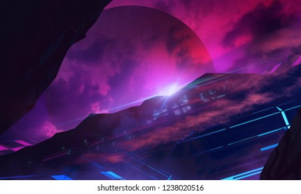 Illustration of a futuristic sci-fi space landscape background with faded planet and city on planet hill surface.