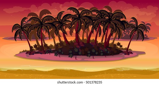 illustration, game background -,Island ,palm, trees nature background for games.