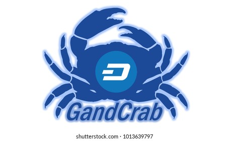 Illustration of GandCarb Ransomware isolated in white background. GrandCrab is the first ransomware to accept the DASH Crypto Currency.