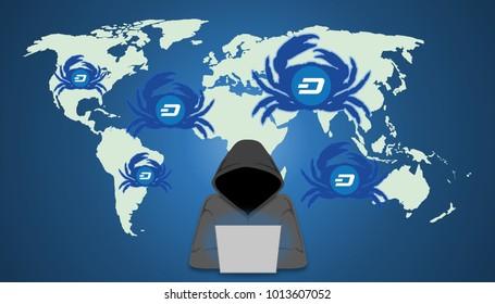 Illustration of GandCrab ransomware concept. Hacker distribute GandCrab via exploit kits. GandCrab ransomware is the first ransomware to accept the DASH currency.