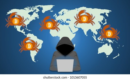 Illustration of GandCrab ransomware concept. Hacker distribute GandCrab via exploit kits. GandCrab ransomware  accept the crypto currency.