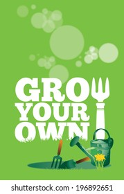 An illustration of a garden poster on a portrait format with the text Grow Your Own. A garden watering can and small hand tools set to the front of the image with growing daffodils.