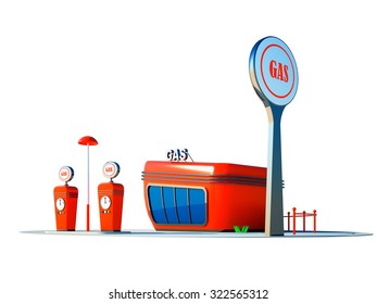 Illustration of the gas station