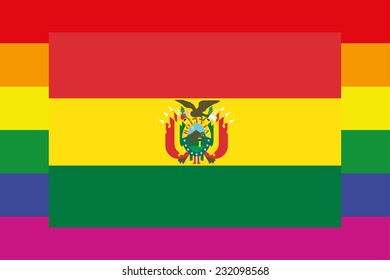 An Illustration of a gay flag with a flag on top of Bolivia