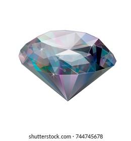 Illustration of a gemstone. Diamond isolated on white background. Gem.