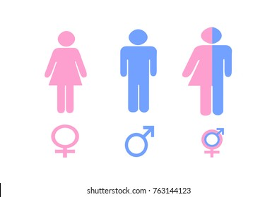 Illustration of Gender Signs in Pink and Blue