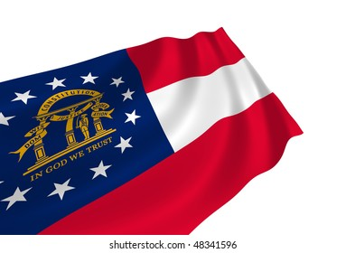 Illustration of Georgia state flag waving in the wind