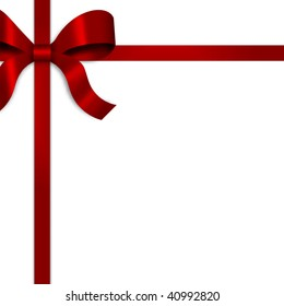 Illustration of gift wrapped and tied with red satin ribbon and a bow on upper left side of frame.  White background provides copy space.