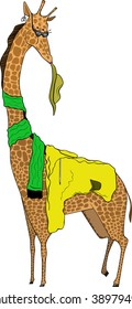 An illustration of a giraffe with a hat, an earring, sun glasses, an scarf and a jacket. Very fashion