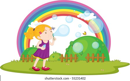 Illustration of A Girl Blowing Bubbles on white background