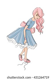 Illustration of a girl in a blue dress who has come untied the lace on Sneakers
