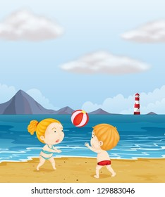 Illustration of a girl and a boy playing volleyball at the beach