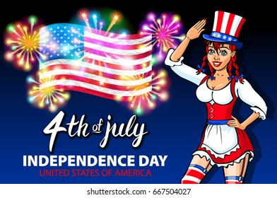 Illustration of a girl celebrating Independence Day Poster. 4th of July Lettering. American Red Flag on Blue Background with Stars burst. firework