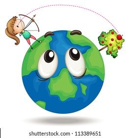 illustration of a girl and earth planet on a white