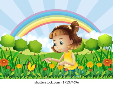 Illustration of a girl at the garden with a rainbow at the back