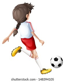 Illustration of a girl kicking a soccer ball on a white background