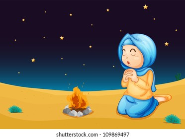 illustration of a girl near fire in dark night
