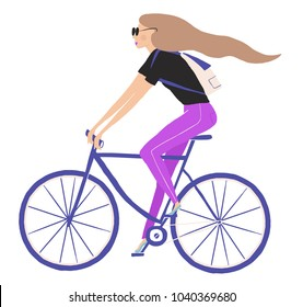 Illustration with girl on the bicycle on the white background. Characters for the International women's day. Hand drawn illustration of woman cycling on the white background.