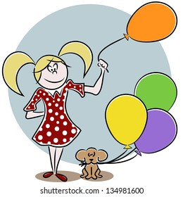 Illustration of a girl and a puppy with balloons