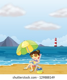 Illustration of a girl relaxing at the beach
