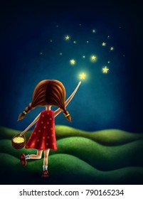 Illustration of a girl trying to catch a star