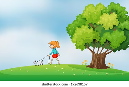 Illustration of a girl walking with her dog at the hilltop