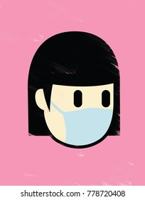 Illustration of a girl wearing a surgical mask