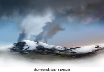 an illustration of a glacier emitting an ash cloud. Eyjafjallajokull Glacier, Iceland.