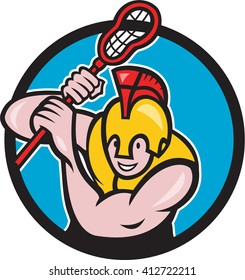 Illustration of a gladiator lacrosse player wearing spartan helmet holding lacrosse stick viewed from front set inside circle done in cartoon style.