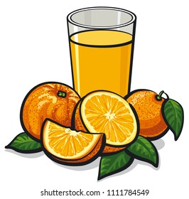 illustration of glass of fresh orange juice with sliced ripe oranges