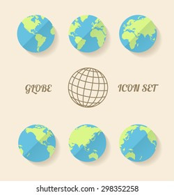 illustration global set. Modern style. Planet in different views of the continents.