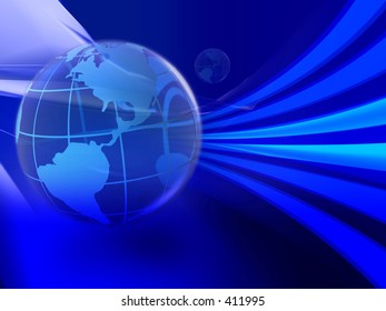Illustration of global use of information technology. Speed of data transfer.