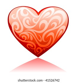 Illustration of glossy heart with floral ornament, for vector version, please check my gallery