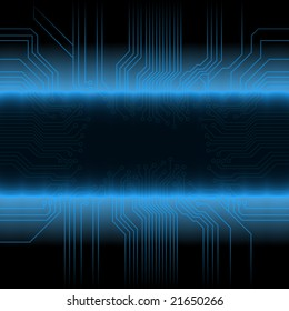 Illustration of a glowing circuitry board design with central frame for custom elements. Detailed gradient fading.