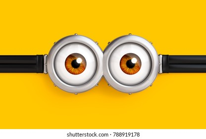 illustration of goggle with two eyes on yellow color background. 3d render.