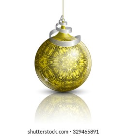 illustration of gold christmas ball with complex pattern on mirror surface and white background