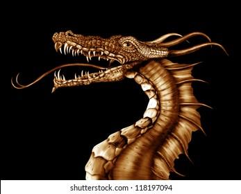 Illustration of a golden dragon on a black background
