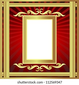 illustration gold(en) frame with pattern and ray
