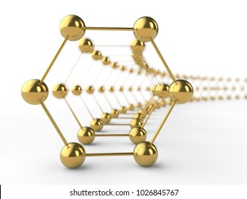 Illustration of a Golden hexagon graphene molecule. The idea of heavy-duty material, advanced technology. Graphene tunnel. 3D rendering. Super battery and superconductor of the future.