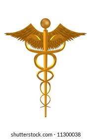 Illustration of a golden medical symbol