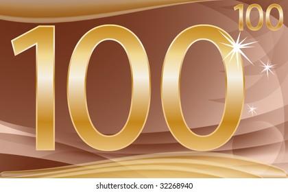 illustration: the golden number hundred on a golden and brown background