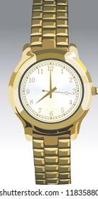 Illustration of golden wrist watch