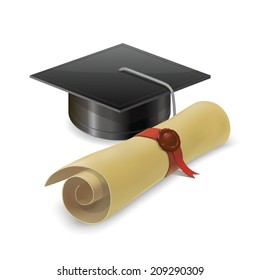 Illustration of graduation cap with diploma. Mortarboard Isolated on white background