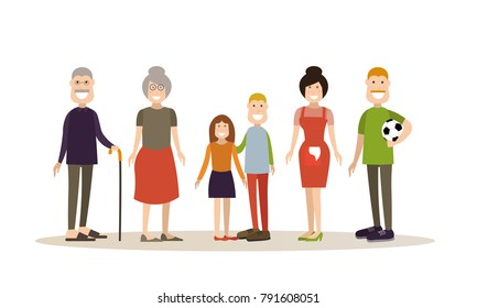 Illustration of grandparents, parents and children boy and girl. Family people concept flat style design elements, icons isolated on white background.