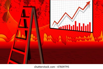 Illustration of a graph board ladder in a room with colour background