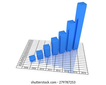Illustration of graph with the growing progress. Business concepts