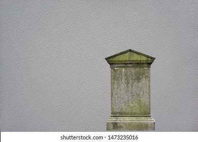 Illustration and graphic design of an old grave. Blank, weathered, tall and dirty cement, concrete headstone grave in a cemetery.  Isolated on a grey textured background.