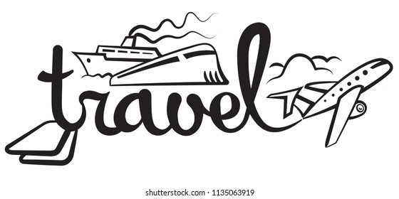 illustration of graphic sign and logo for travel, resort and cruise